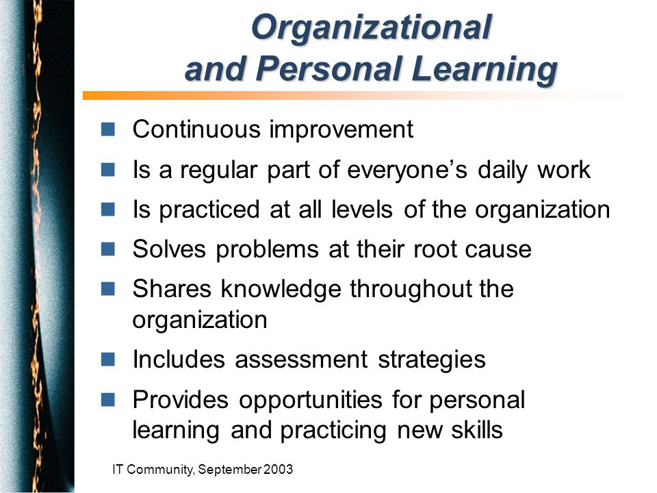 IT Community, September 2003 n Continuous improvement n Is a regular part of everyone's daily work n Is practiced at all levels of the organization n Solves problems at their root cause n Shares knowledge throughout the organization n Includes assessment strategies n Provides opportunities for personal learning and practicing new skills Organizational and Personal Learning