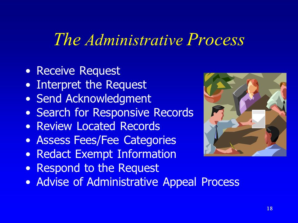 18 The Administrative Process Receive Request Interpret the Request Send Acknowledgment Search for Responsive Records Review Located Records Assess Fe