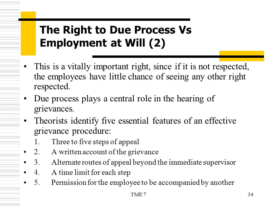 34TME 7 The Right to Due Process Vs Employment at Will (2) This is a vitally important right, since if it is not respected, the employees have little