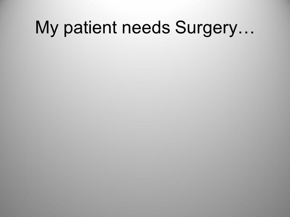 My patient needs Surgery…