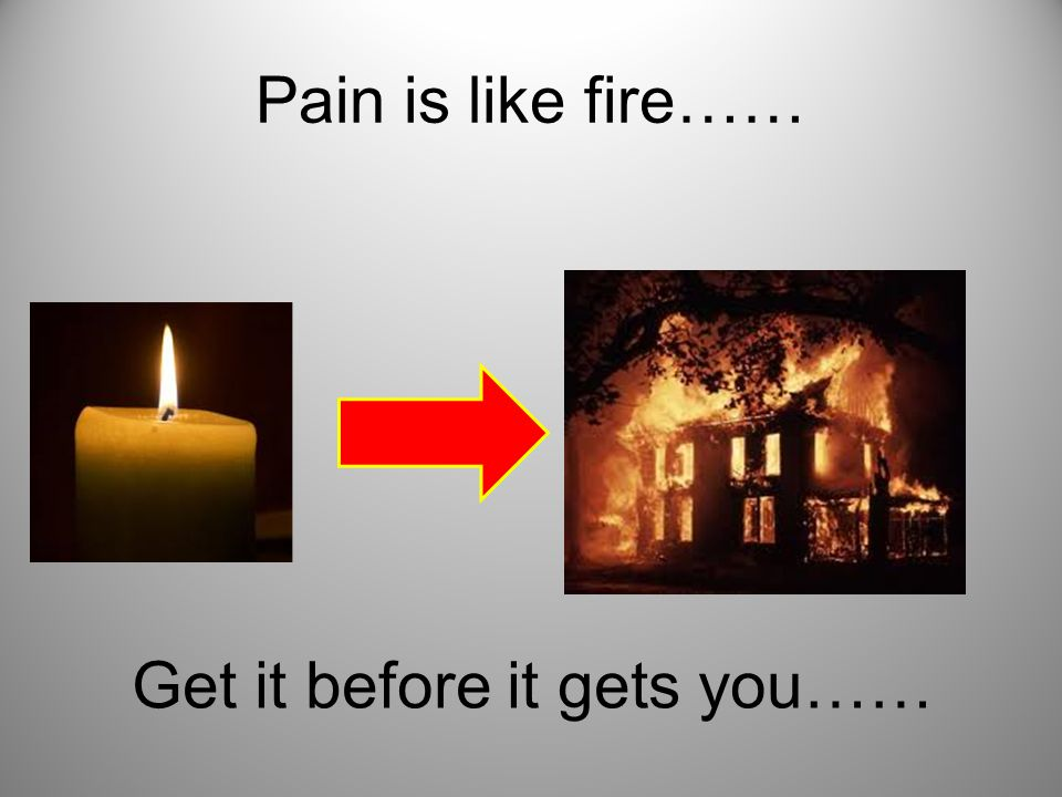 Pain is like fire…… Get it before it gets you……