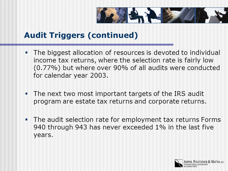 Audit Triggers (continued)  The biggest allocation of resources is devoted to individual income tax returns, where the selection rate is fairly low (0.77%) but where over 90% of all audits were conducted for calendar year 2003.