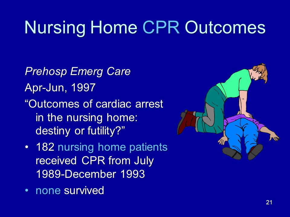 21 Nursing Home CPR Outcomes Prehosp Emerg Care Apr-Jun, 1997 Outcomes of cardiac arrest in the nursing home: destiny or futility? 182 nursing home patients received CPR from July 1989-December 1993182 nursing home patients received CPR from July 1989-December 1993 none survivednone survived