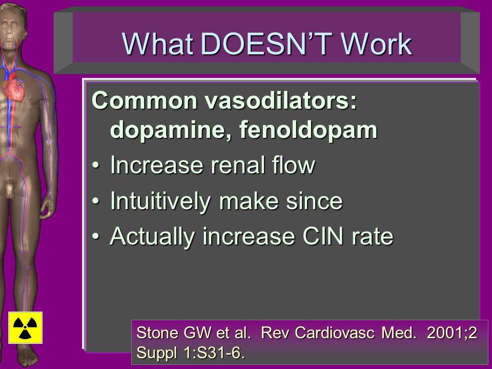 What DOESN'T Work Common vasodilators: dopamine, fenoldopam Increase renal flowIncrease renal flow Intuitively make sinceIntuitively make since Actually increase CIN rateActually increase CIN rate Stone GW et al.