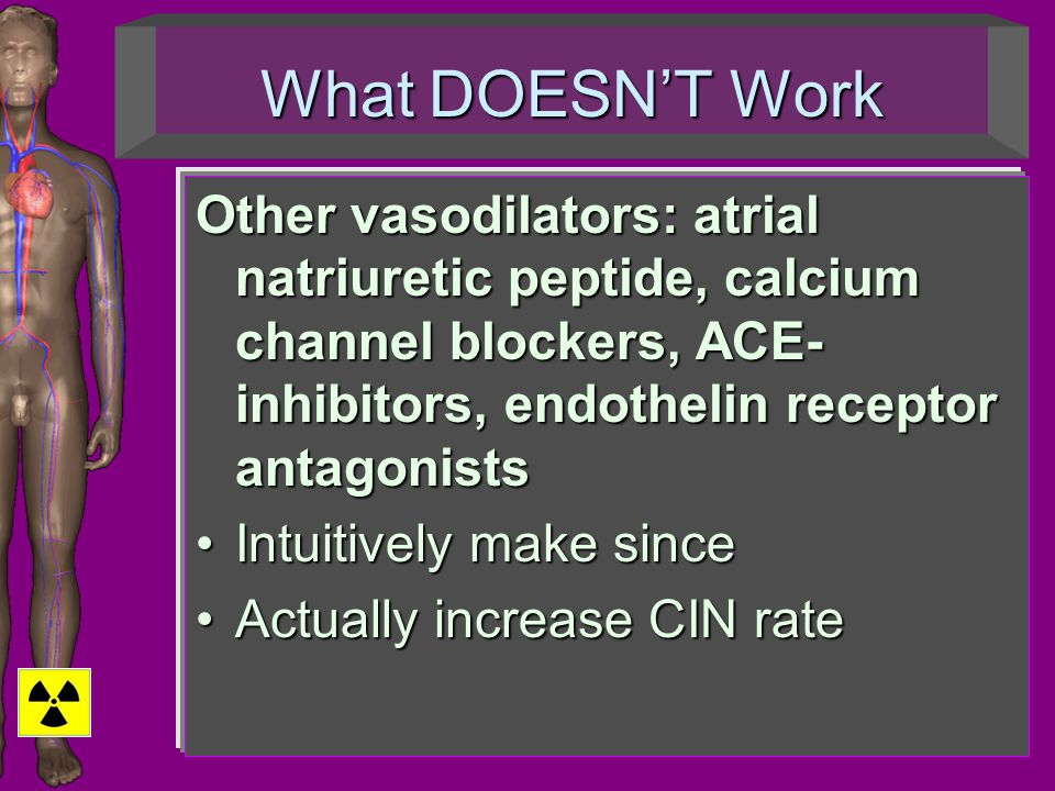 What DOESN'T Work Other vasodilators: atrial natriuretic peptide, calcium channel blockers, ACE- inhibitors, endothelin receptor antagonists Intuitive
