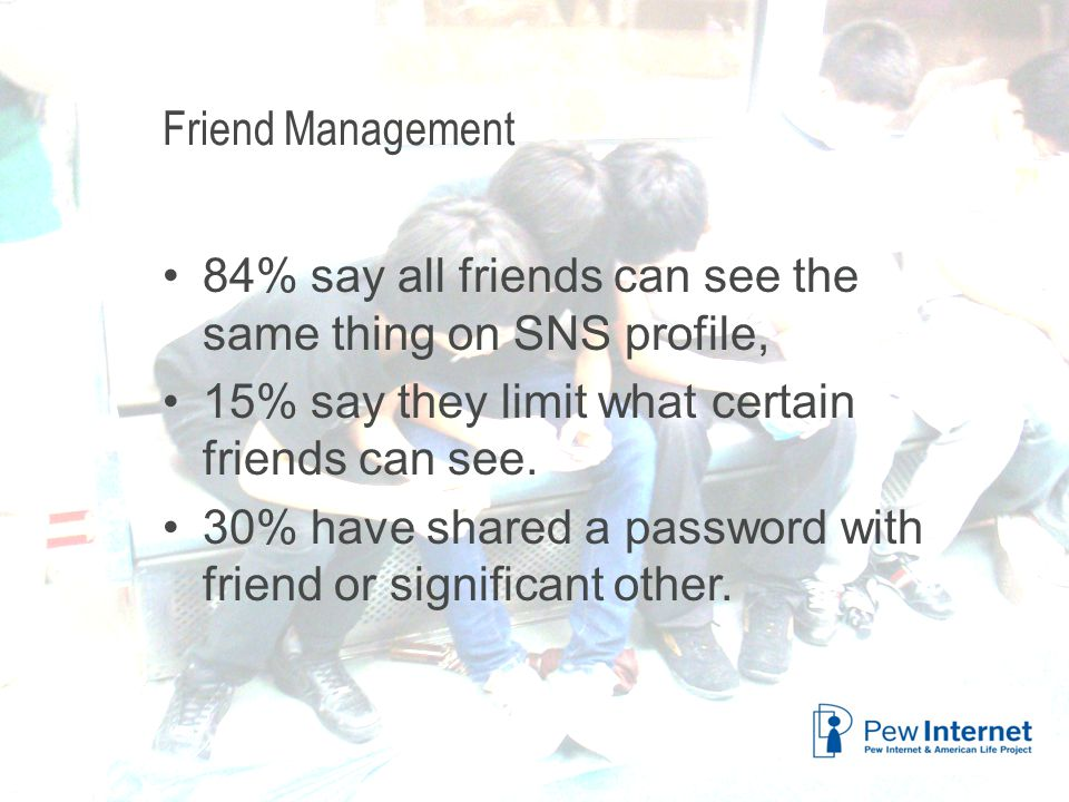Title of presentation Friend Management 84% say all friends can see the same thing on SNS profile, 15% say they limit what certain friends can see.