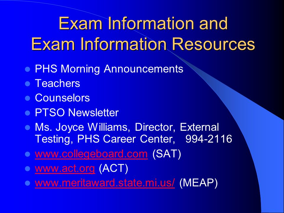 The ABC's of SAT PSAT ACT AP Exams MEAP/MME