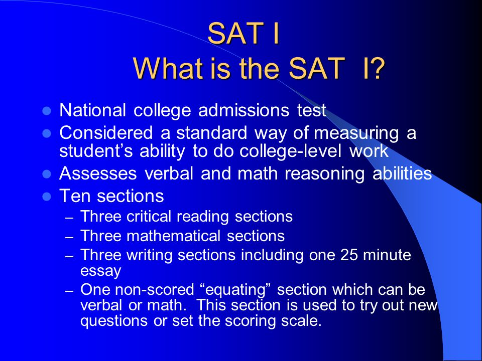 SAT I Scholastic Assessment Test I Reasoning Tests