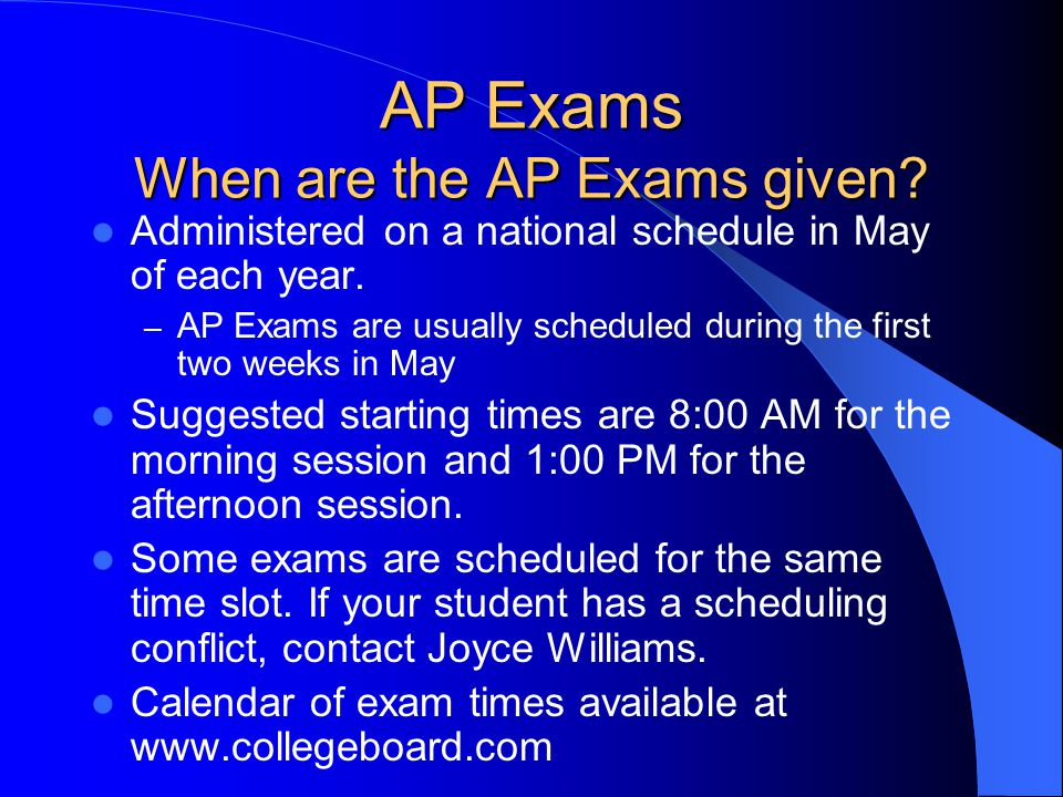 AP Exams Who takes the AP Exams? Any student can register to take an AP exam. A student does not have to take an AP course to take an AP exam. AP cour