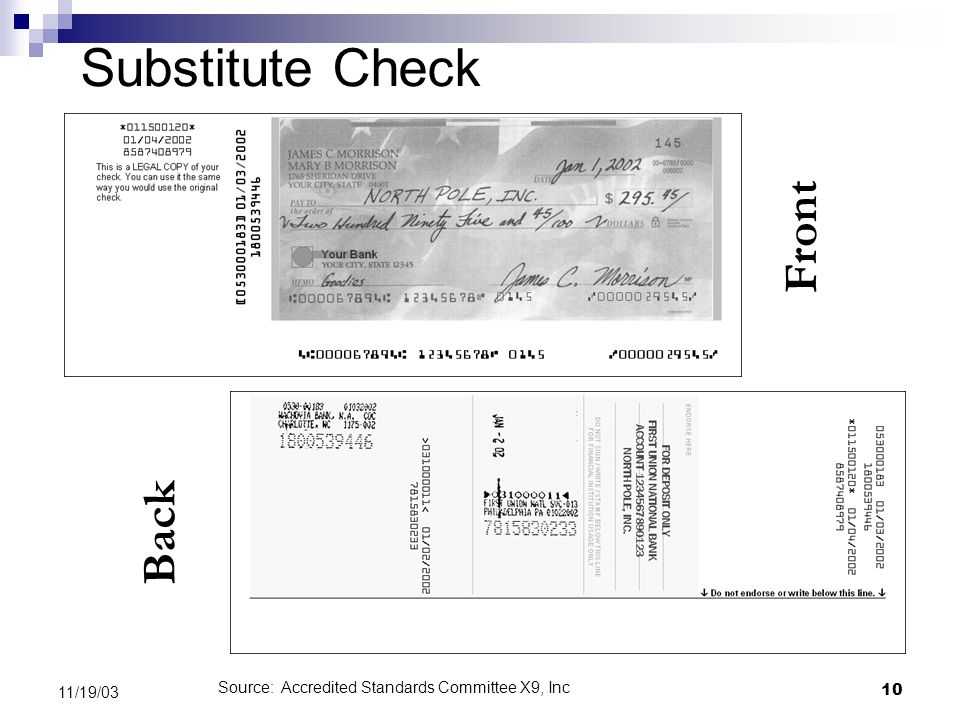 10 11/19/03 Substitute Check Front Back Source: Accredited Standards Committee X9, Inc