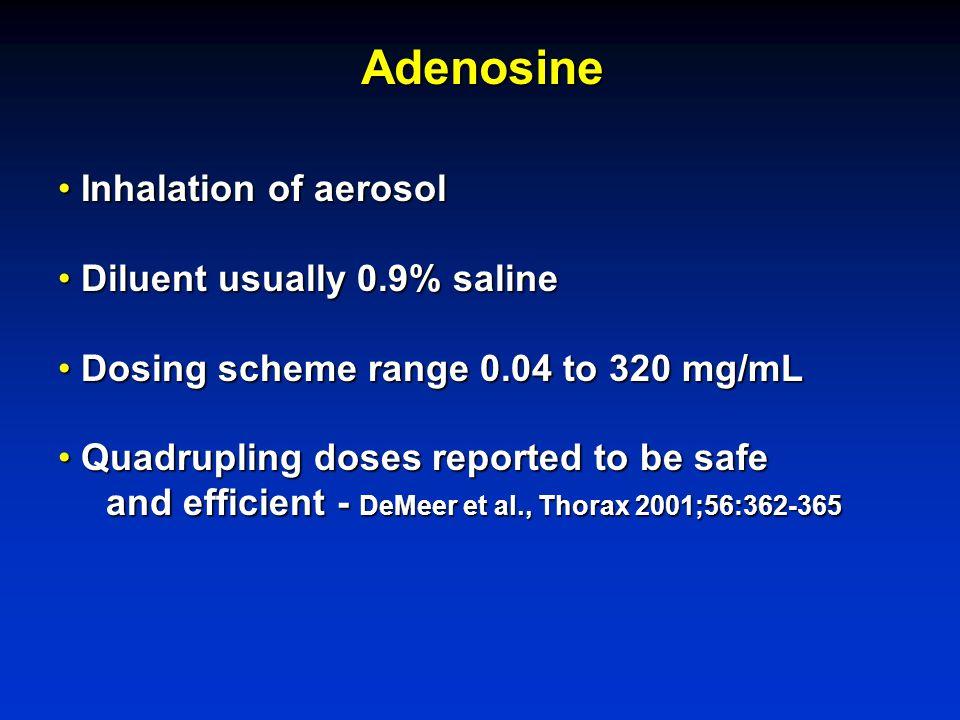 Adenosine Inhalation of aerosol Inhalation of aerosol Diluent usually 0.9% saline Diluent usually 0.9% saline Dosing scheme range 0.04 to 320 mg/mL Do