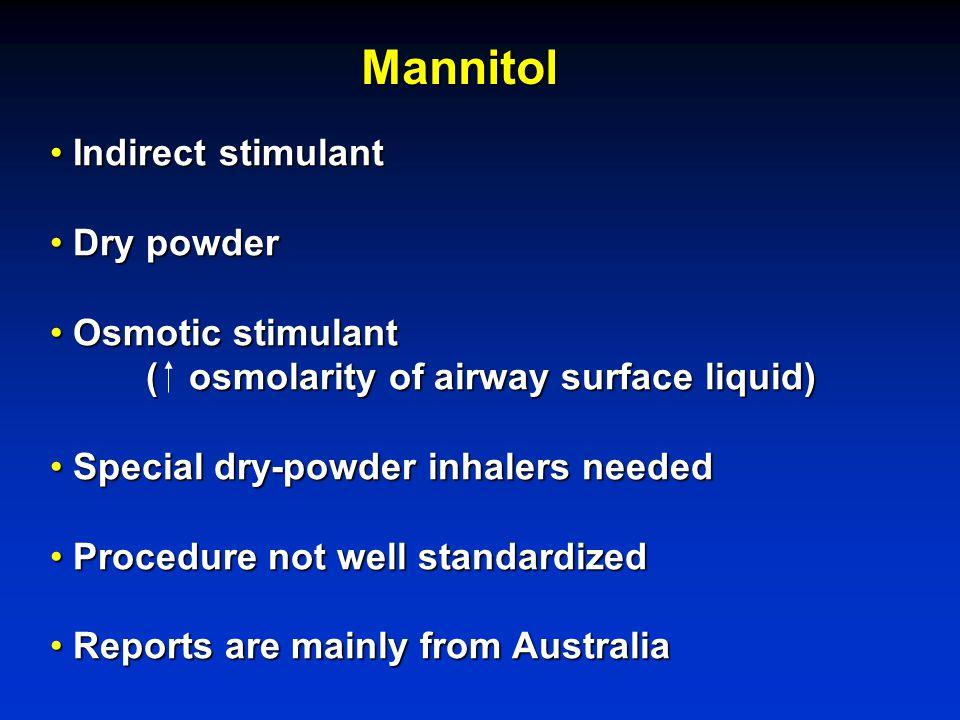 Mannitol Indirect stimulant Indirect stimulant Dry powder Dry powder Osmotic stimulant Osmotic stimulant ( osmolarity of airway surface liquid) Specia