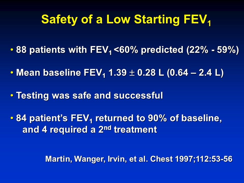Martin, Wanger, Irvin, et al. Chest 1997;112:53-56 Safety of a Low Starting FEV 1 88 patients with FEV 1 <60% predicted (22% - 59%) 88 patients with F