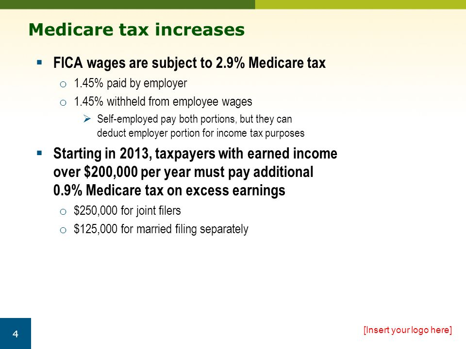 Withholding issues  0.9% Medicare tax doesn't include a corresponding employer portion  Employers must withhold additional tax o Beginning in pay period in which wages exceed $200,000 for calendar year without regard to:  Employee's filing status  His or her income from other sources o Employer could be required to withhold additional tax even if you don't owe it [Insert your logo here] 5 TIP: You can't ask your employer to stop withholding the tax, but you can claim a credit for it on your tax return.