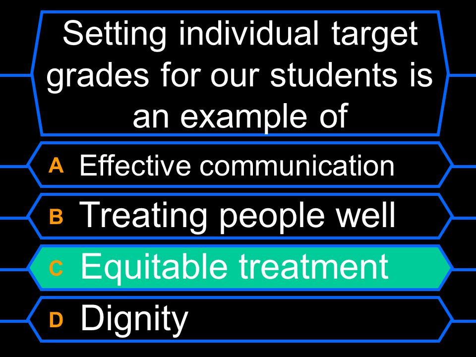 Setting individual target grades for our students is an example of A Effective communication B Treating people well C Equitable treatment D Dignity