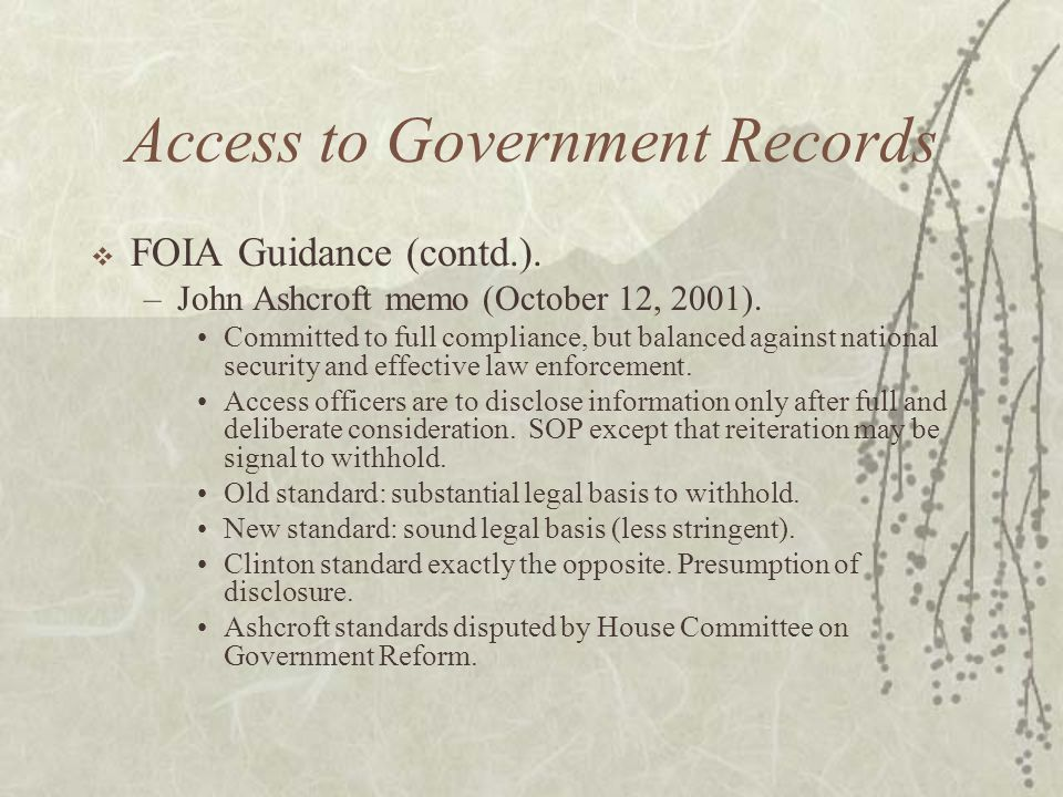 Access to Government Records  FOIA Guidance (contd.).