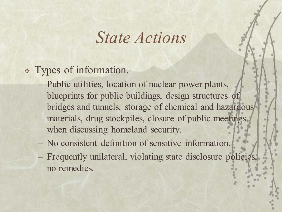 State Actions  Types of information.