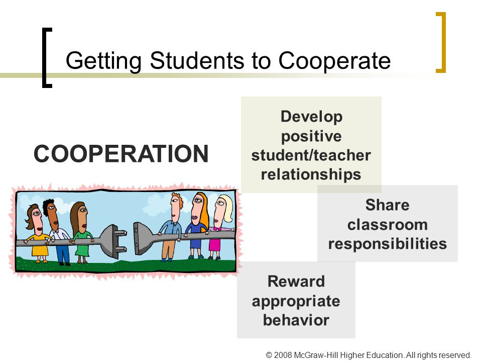 © 2008 McGraw-Hill Higher Education. All rights reserved. Getting Students to Cooperate COOPERATION Develop positive student/teacher relationships Rew