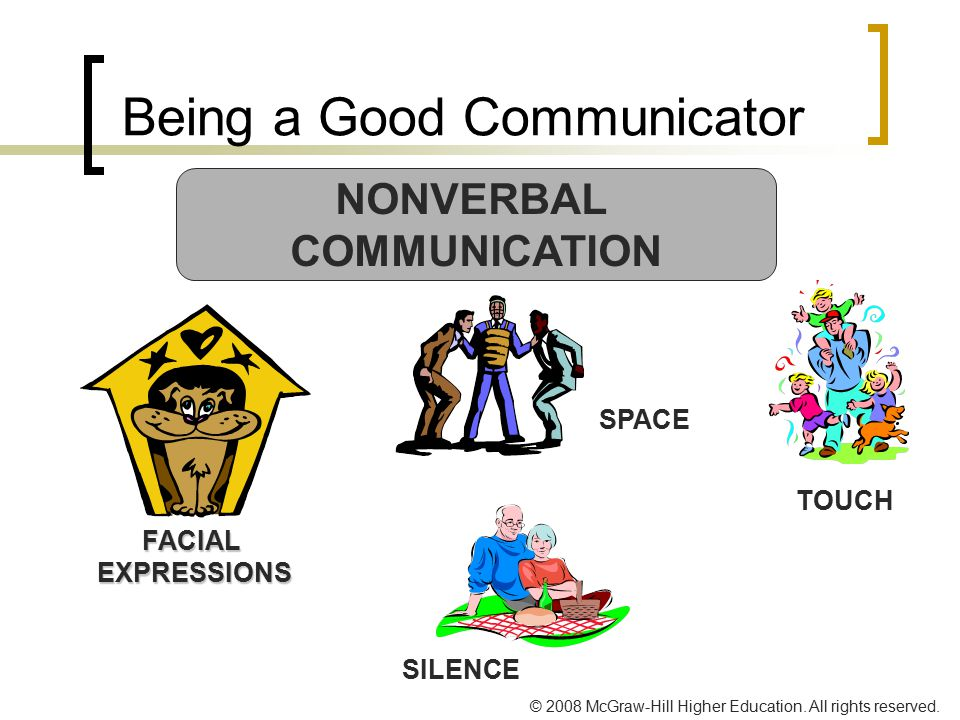 © 2008 McGraw-Hill Higher Education. All rights reserved. Being a Good Communicator NONVERBAL COMMUNICATION FACIALEXPRESSIONS TOUCH SILENCE SPACE