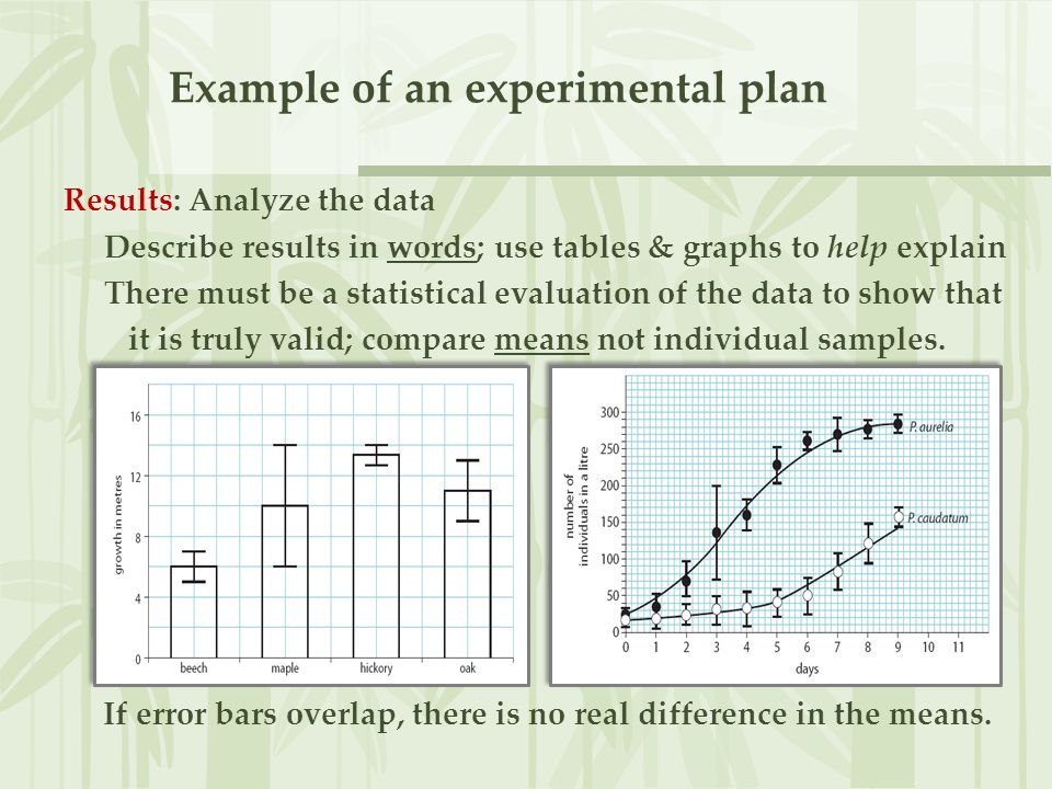 Example of an experimental plan Results: Analyze the data Describe results in words; use tables & graphs to help explain There must be a statistical e