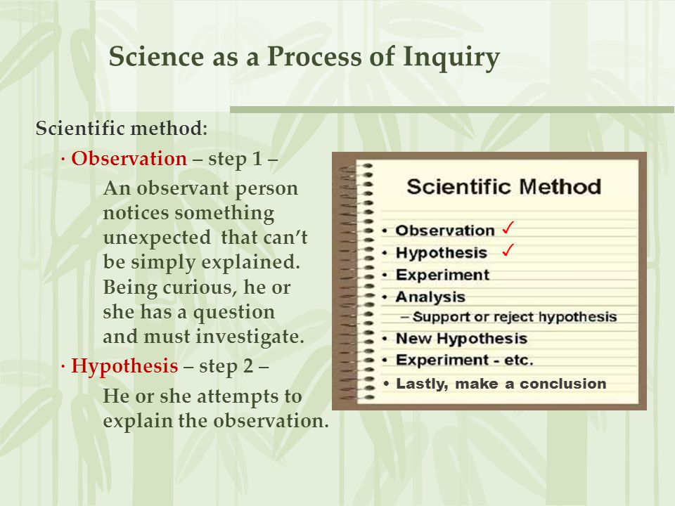 Science as a Process of Inquiry Hypothesis: a testable explanation for an observation.