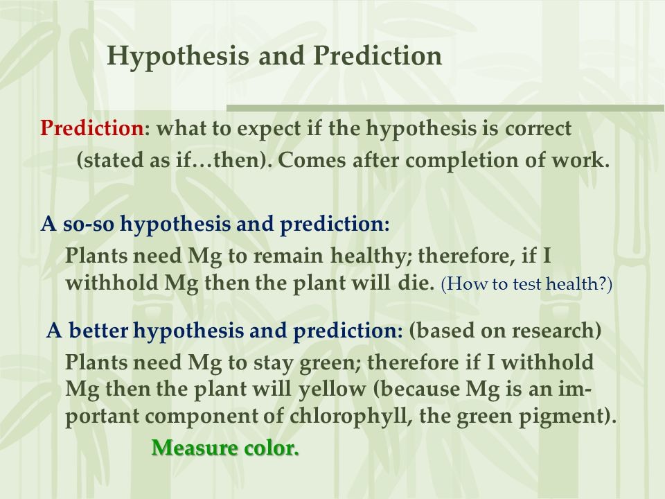 Hypothesis vs.Theory Hypothesis: underlying idea for an experiment.