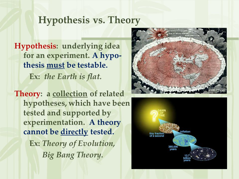 Hypothesis vs. Theory Hypothesis: underlying idea for an experiment. A hypo- thesis must be testable. Ex: the Earth is flat. Theory: a collection of r