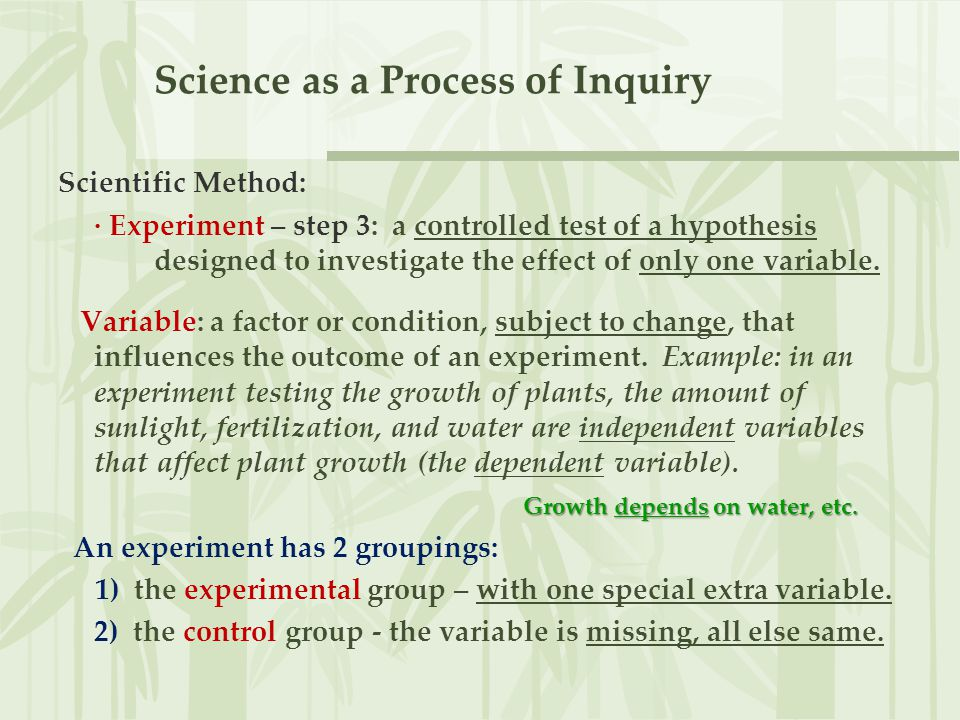 Science as a Process of Inquiry The experimental plan is a subset of the Scientific Method and an elaboration; it includes four parts, or headings, for set- ting up and writing the experiment: 1) Hypothesis - the underlying idea or plan.