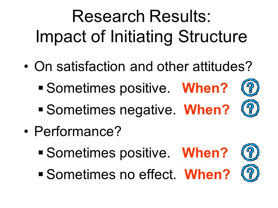 Research Results: Impact of Initiating Structure On satisfaction and other attitudes.