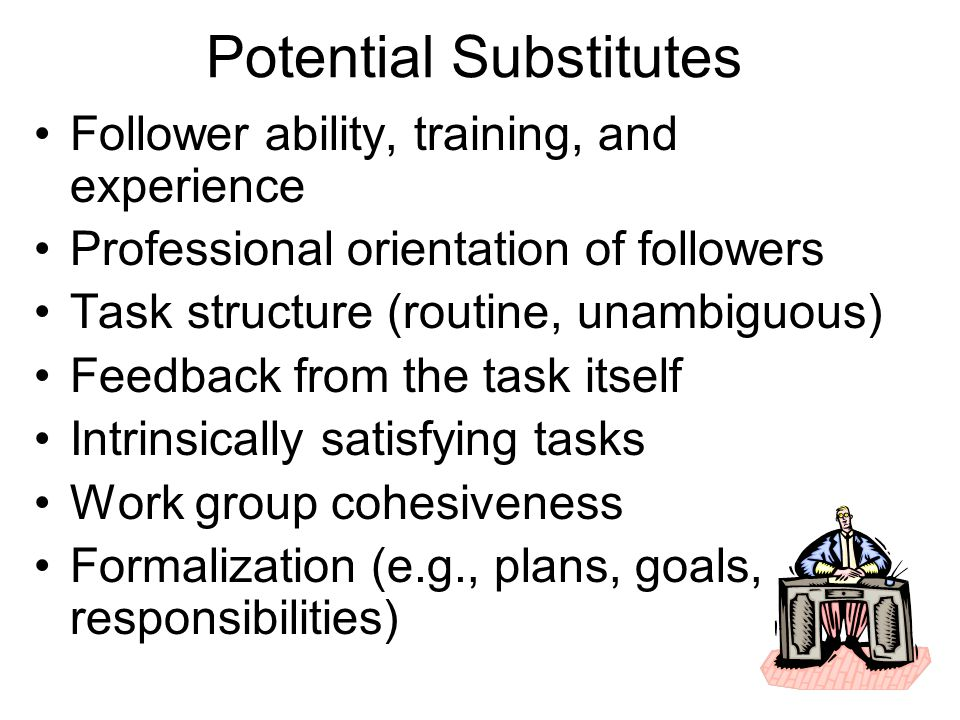 Potential Substitutes Follower ability, training, and experience Professional orientation of followers Task structure (routine, unambiguous) Feedback from the task itself Intrinsically satisfying tasks Work group cohesiveness Formalization (e.g., plans, goals, responsibilities)
