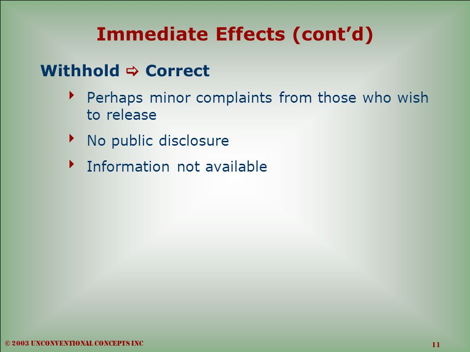 Immediate Effects (cont'd) Withhold  Correct  Perhaps minor complaints from those who wish to release  No public disclosure  Information not available © 2003 unconventional concepts inc 11