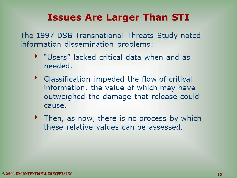 Issues Are Larger Than STI The 1997 DSB Transnational Threats Study noted information dissemination problems:  Users lacked critical data when and as needed.