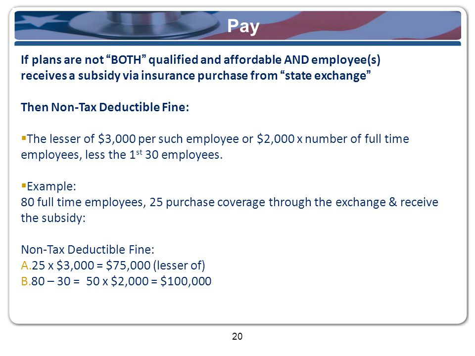 20 Pay If plans are not BOTH qualified and affordable AND employee(s) receives a subsidy via insurance purchase from state exchange Then Non-Tax Deductible Fine:  The lesser of $3,000 per such employee or $2,000 x number of full time employees, less the 1 st 30 employees.