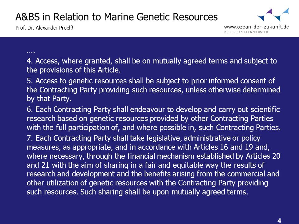 4 A&BS in Relation to Marine Genetic Resources Prof.