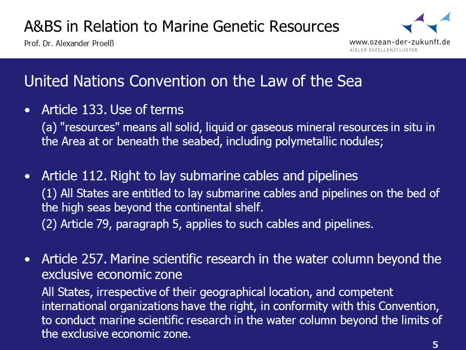 5 A&BS in Relation to Marine Genetic Resources Prof.