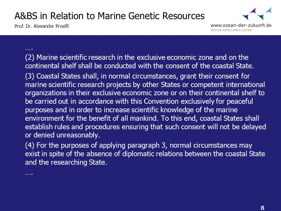 8 A&BS in Relation to Marine Genetic Resources Prof.