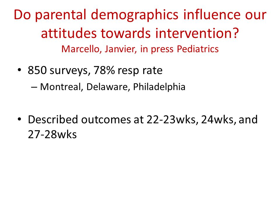 Do parental demographics influence our attitudes towards intervention.