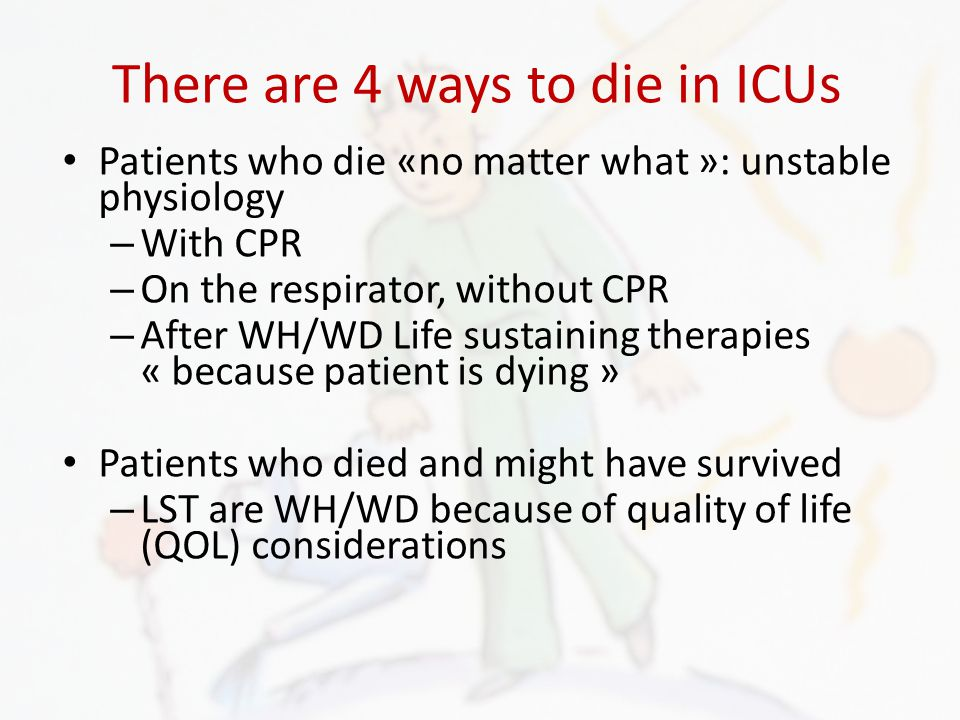 There are 4 ways to die in ICUs Patients who die «no matter what »: unstable physiology – With CPR – On the respirator, without CPR – After WH/WD Life