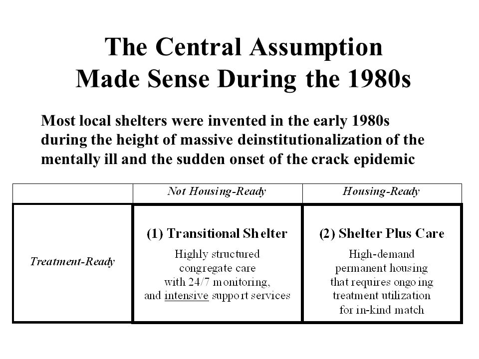 The Central Assumption Made Sense During the 1980s Most local shelters were invented in the early 1980s during the height of massive deinstitutionaliz