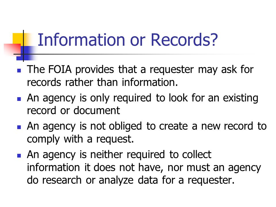 Information or Records.