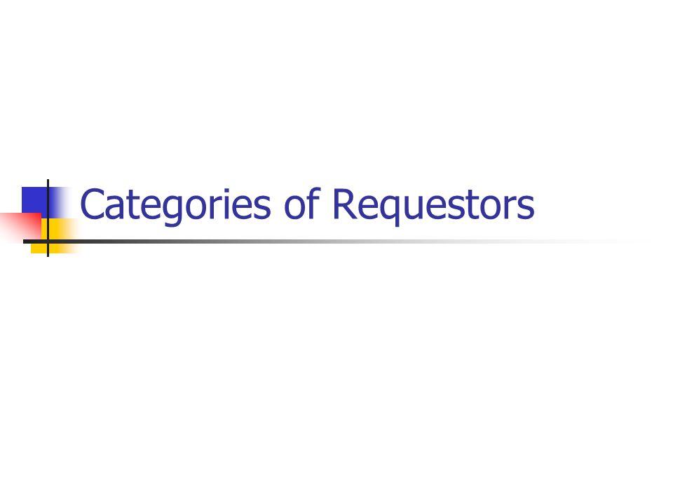 Categories of Requestors