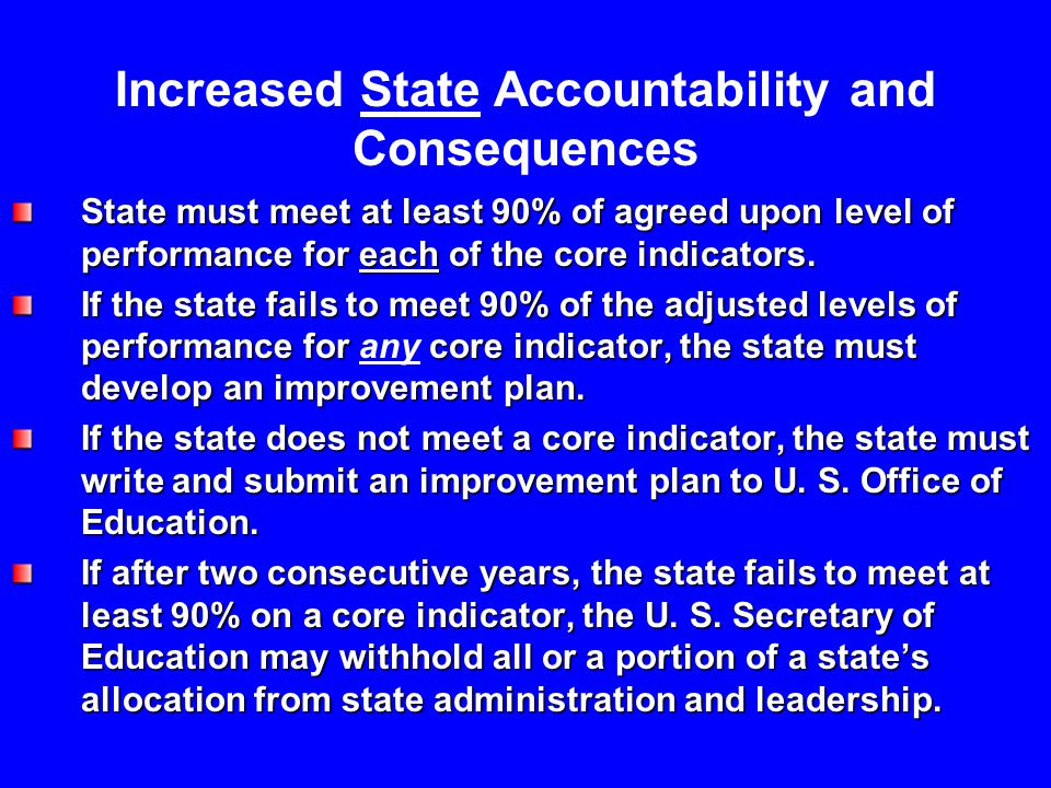 State must meet at least 90% of agreed upon level of performance for each of the core indicators.