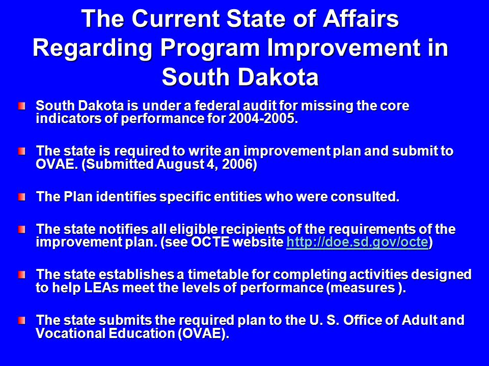 The Current State of Affairs Regarding Program Improvement in South Dakota South Dakota is under a federal audit for missing the core indicators of performance for 2004-2005.