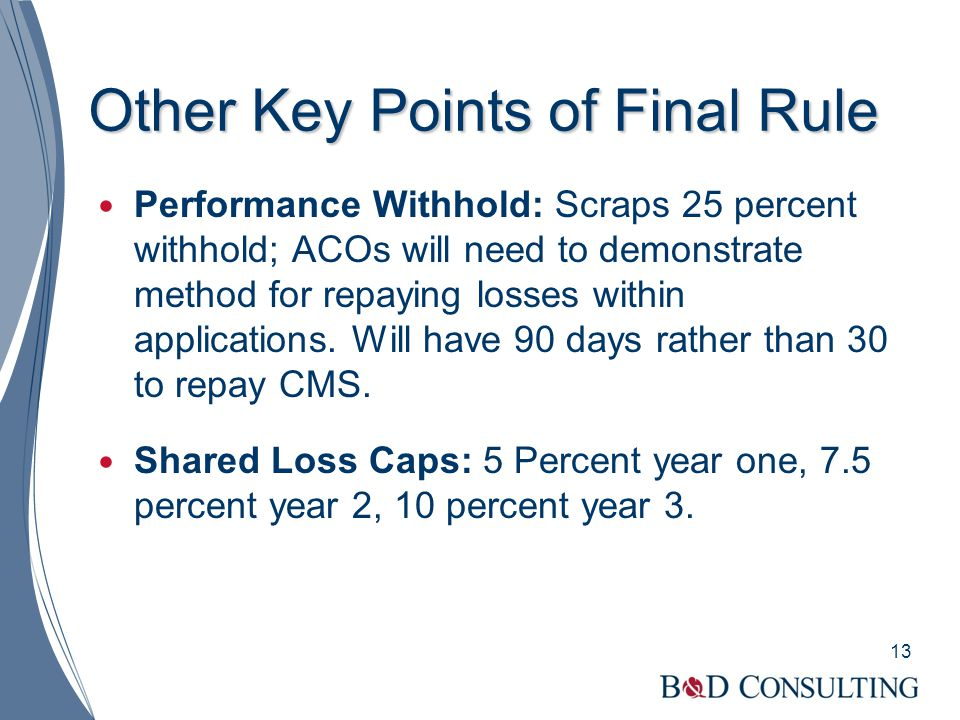 Other Key Points of Final Rule Performance Withhold: Scraps 25 percent withhold; ACOs will need to demonstrate method for repaying losses within appli