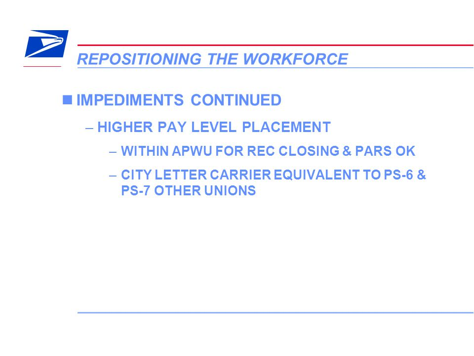 17 VERA Conference REPOSITIONING THE WORKFORCE IMPEDIMENTS CONTINUED –HIGHER PAY LEVEL PLACEMENT –WITHIN APWU FOR REC CLOSING & PARS OK –CITY LETTER C