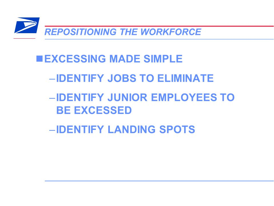 5 VERA Conference REPOSITIONING THE WORKFORCE EXCESSING MADE SIMPLE –IDENTIFY JOBS TO ELIMINATE –IDENTIFY JUNIOR EMPLOYEES TO BE EXCESSED –IDENTIFY LA