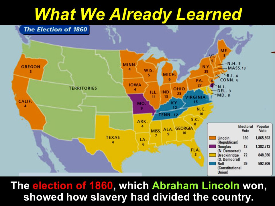 What We Already Learned The election of 1860, which Abraham Lincoln won, showed how slavery had divided the country.