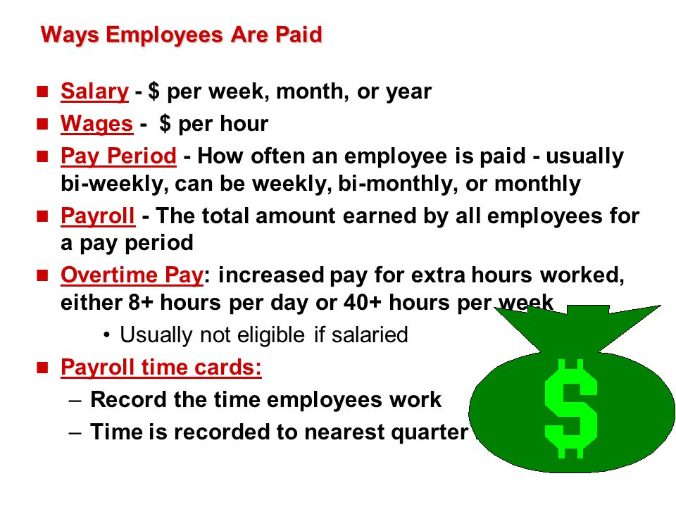 CH 13-1: Preparing Payroll Time Cards n Must keep special payroll records to support the recording of payroll transactions in a journal: 1.Employee earnings record – individual 2.Payroll register – all employees n Records are used: –To inform employees of their annual earnings –For business to prepare payroll records for government