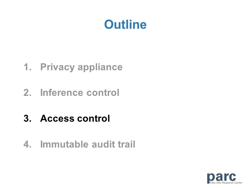 Outline 1.Privacy appliance 2.Inference control 3.Access control 4.Immutable audit trail