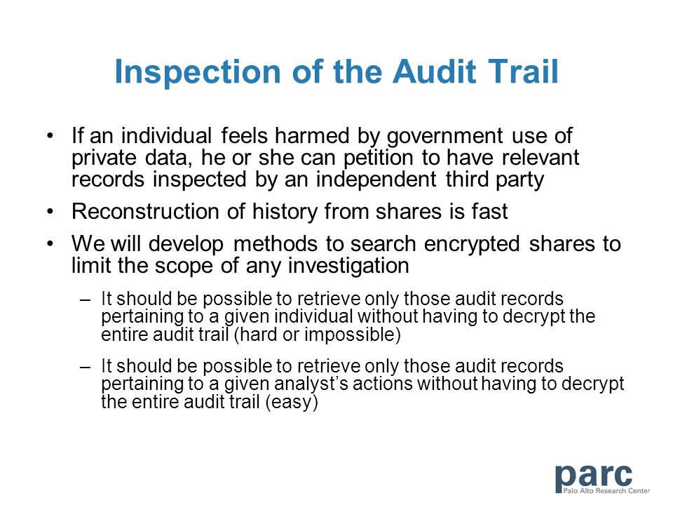 If an individual feels harmed by government use of private data, he or she can petition to have relevant records inspected by an independent third par
